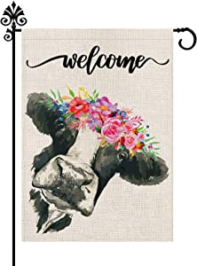 Welcome Floral Crown Cow Garden Burlap Flag 12.5 x 18 Inch Vertical Double Sided Spring Summer Flags Outdoor Decorations Farmhouse Yard Home Decor