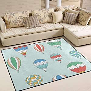 Area Rugs Hot Air Ballons Pattern Colorful Indoor/Outdoor Floor Mat Livingroom Bedroom Sofa Carpet Non Slip Home Hotel Large Custom Area Rug Mat 6.67'x4.83'