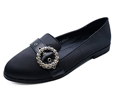 8d7f2ba5e6fa69 HeelzSoHigh Ladies Black Slip-on Diamante Loafers Smart Comfy Flat Satin  Pumps Shoes Sizes 3