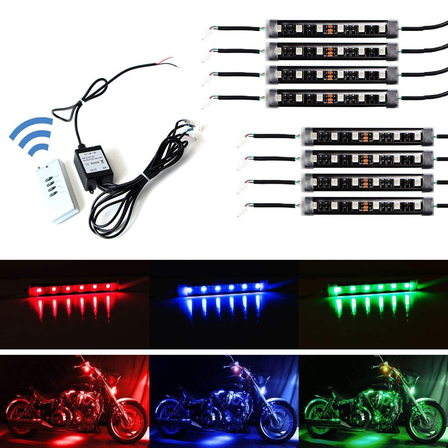 iJDMTOY 8pcs RGB Multi-Color LED Motorcycle Ground Effect Light Kit w/Wireless Remote Control iJDMTOY Auto Accessories LED Strip Lighting Kit For Show Off-Road
