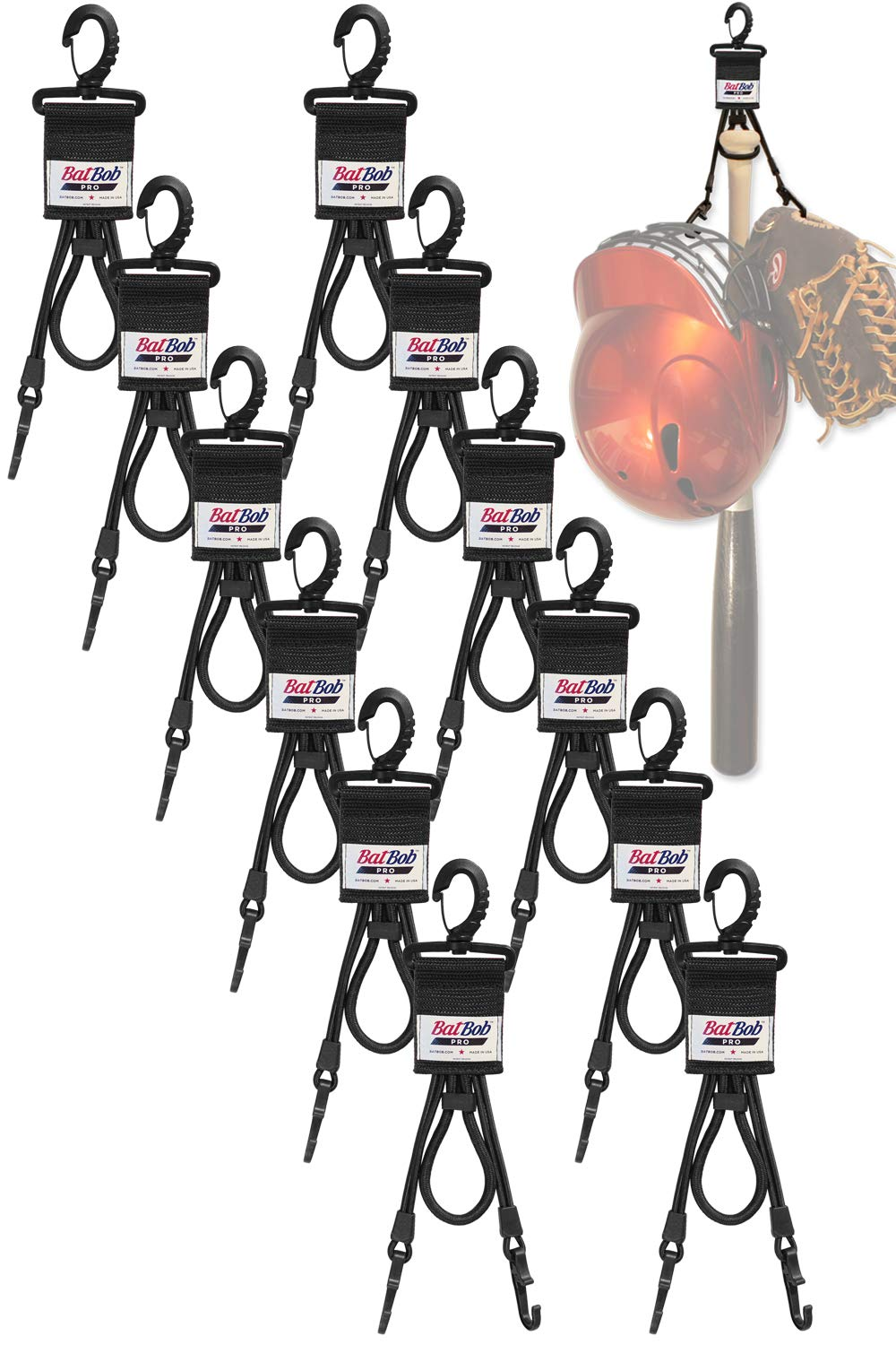 (Team 12 pack) Dugout Gear Hanger - The Dugout Organizer - For Baseball and Softball to hold bats, helmets and gloves (Black) by BatBob