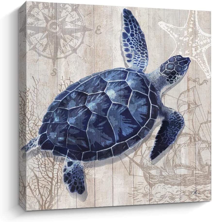 Pinetree Art Sea Turtle Wall Decor Painting on Canvas Swimming in The Ocean for Home Decor (C, 12 x 12 inch)