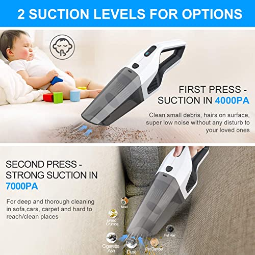 Handheld Vacuum Cleaner Cordless, Rechargeable Car Vacuum 7000PA Powerful Suction Lightweight Wet Dry Vacuum Cleaner Portable Household Portable Hand Vac with Stainless Steel Filter for Car, Pet, Home