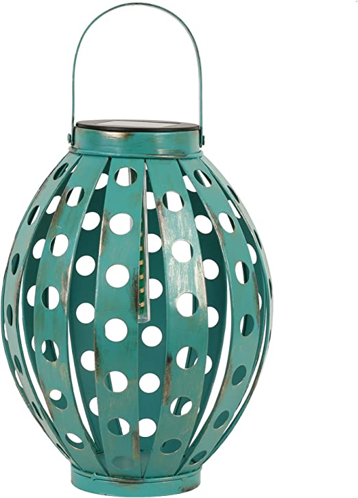 TERESAS COLLECTIONS 24cm Farol Solar Farolillos de exterior Lantern Outdoor LED Colgante Lámpara de Metal de Luces de Jardín Lámpara Hexagonal, Linterna de Luces Decoración Adorno de Jardín: Amazon.es: Iluminación