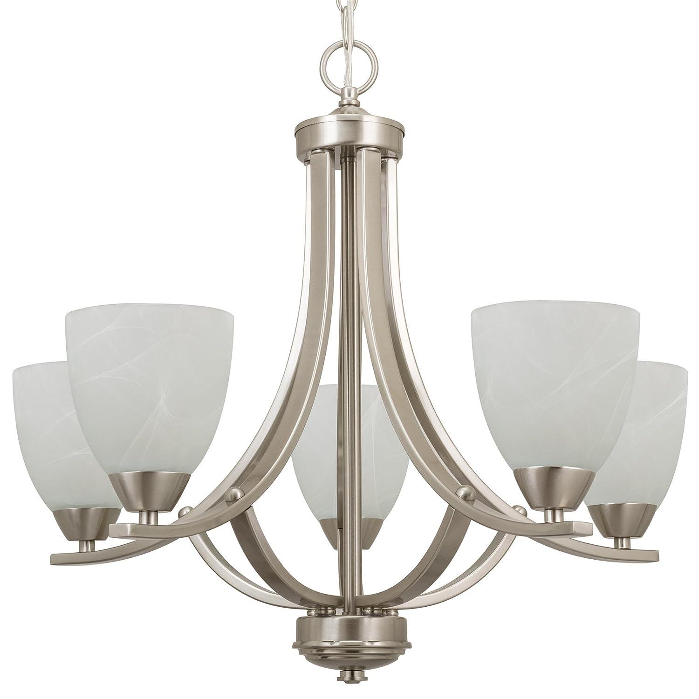 Kira home weston 24 contemporary 5 light large chandelier alabaster glass shades adjustable chain brushed nickel finish amazon com