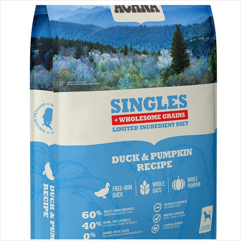 ACANA Duck & Pumpkin Wholesome Grains Dry Dog Food Formula. 22.5 Pound Bag. (New)