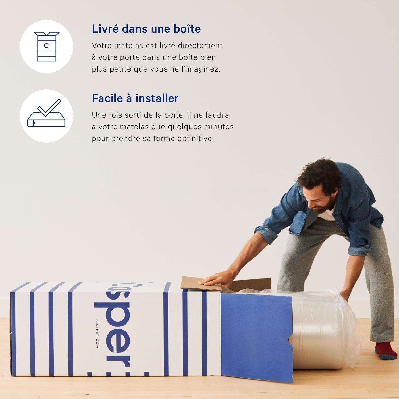 90 x200 10 ans de garantie Gris Casper- lEssentiel-  Matelas en mousse- /épaisseur 18 cm