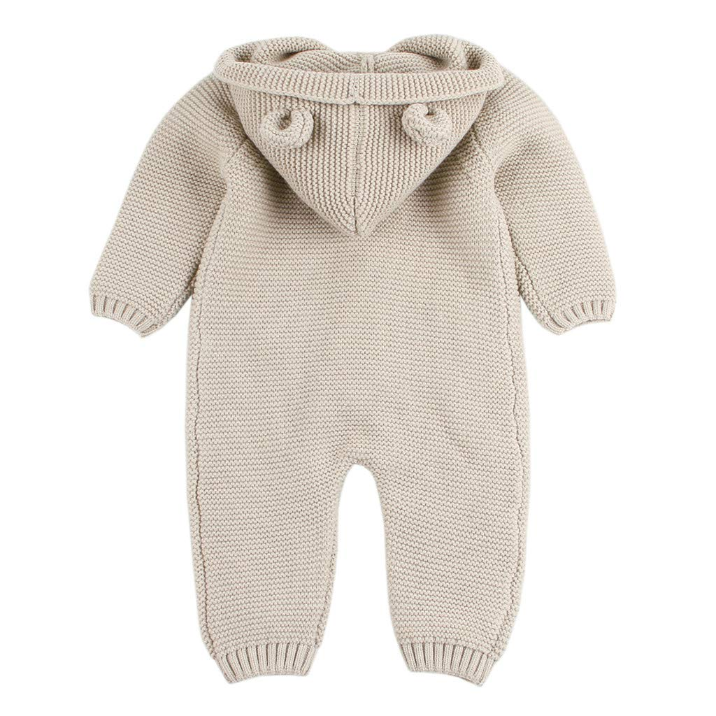BeautyTop Baby M/ädchen Jungen Winter Warm Overall 6-24 Monat Kleidung Set Baby Unisex Langarm Stricken Strampler mit Kapuze Baby Toddler Neugeborenes Outfit