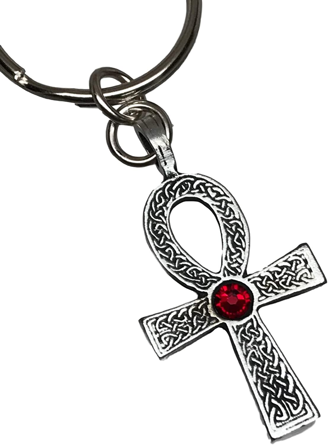 Celtic Red Gem Cross Silver Pewter Pendant On A Chain