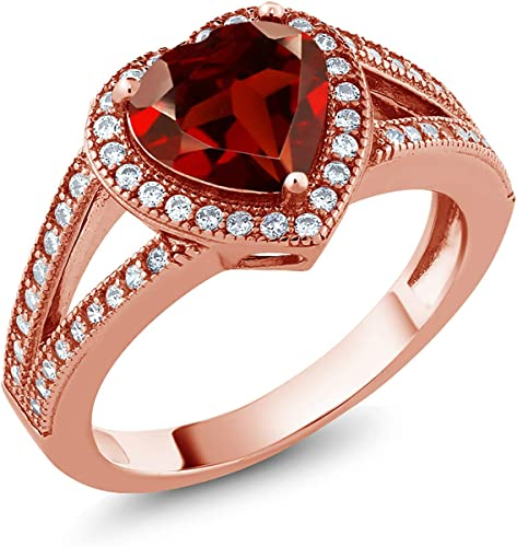 2.00 Ct Heart Shape Red Garnet Solitaire Engagement Ring In 14K Rose Gold Finish