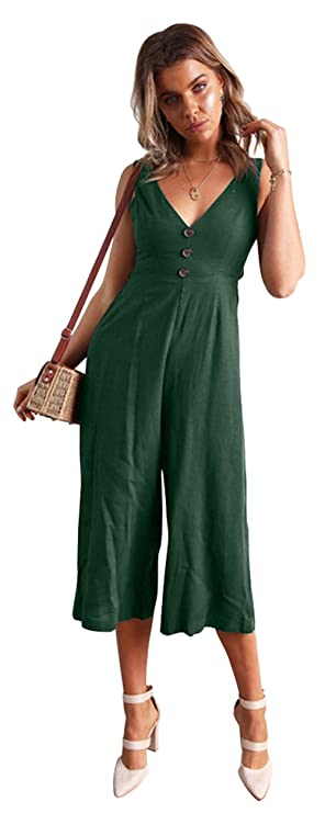 Amazon.com: Longwu Womens Casual V Neck Spaghetti Strap Jumpsuit Sleeveless Backless Wide Leg Overalls Rompers: Clothing