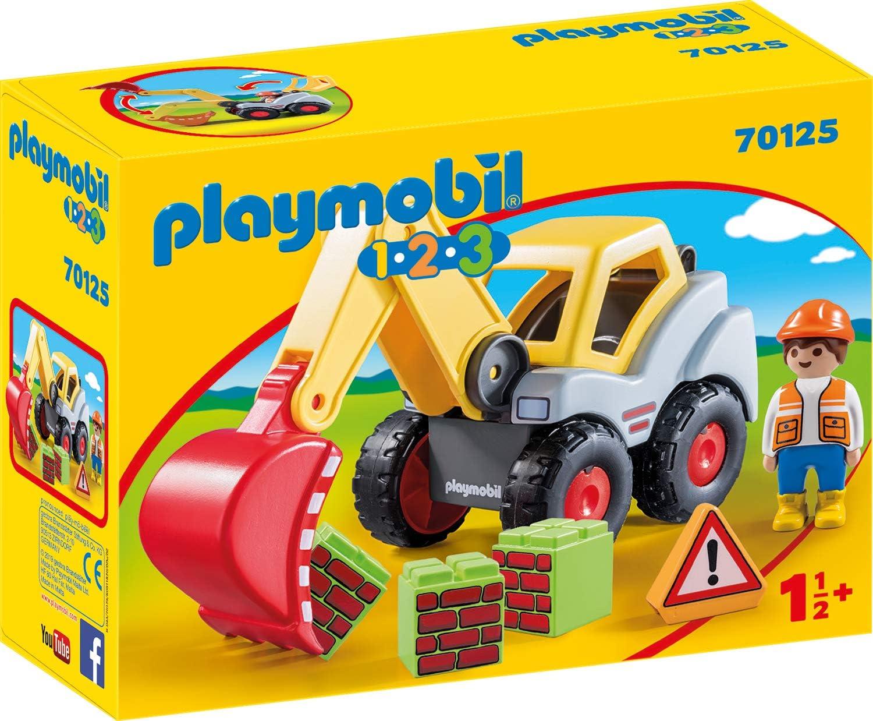 PLAYMOBIL-70125 Playmobil 1.2.3 Pala excavadora, multicolor, talla única (70125) , color/modelo surtido