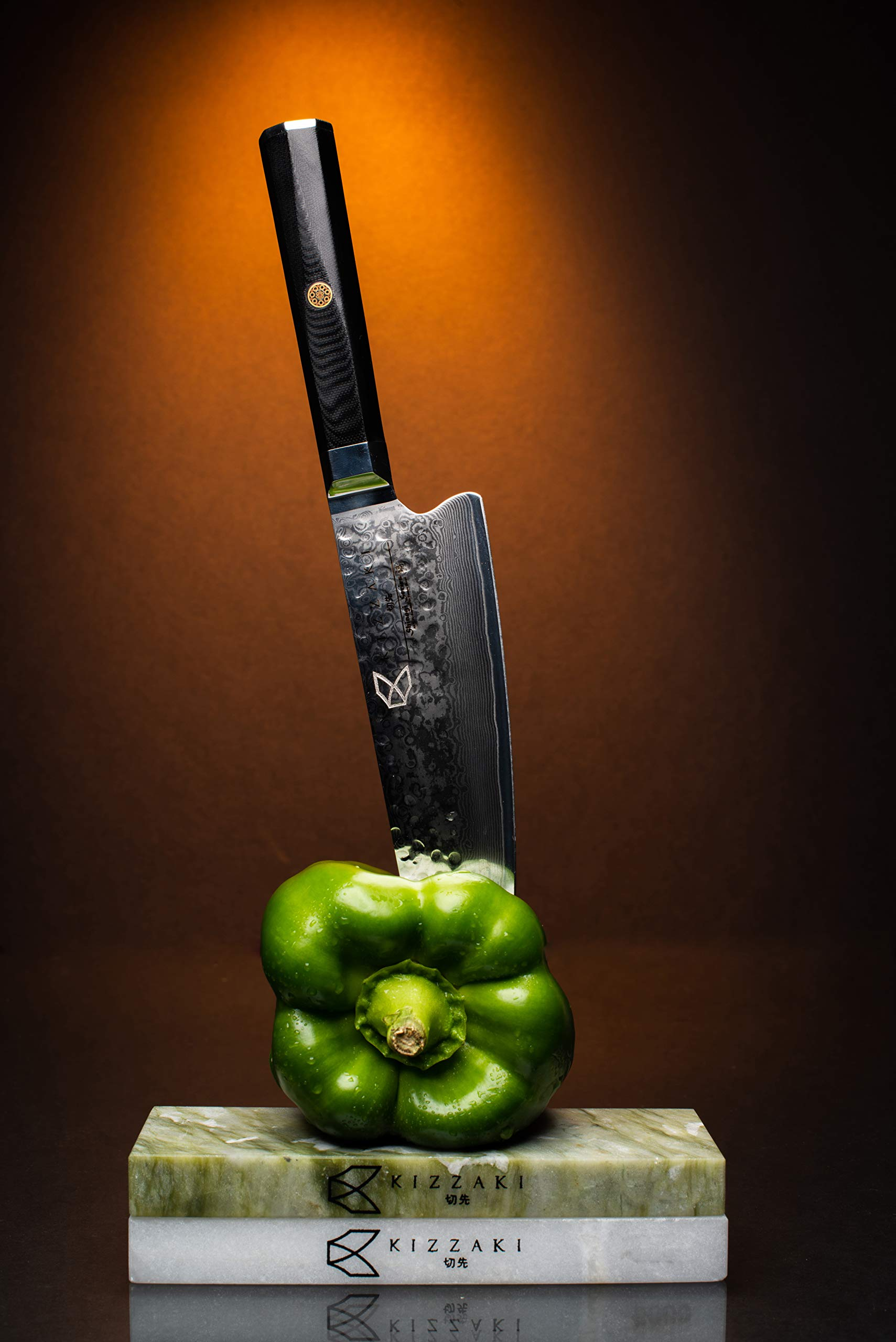 Kizzaki Premium 8 inch AUS-10 Japanese Super Steel Chef Knife - Ultra Sharp Blade - Hammered - Damascus Pattern - Acacia Wooden Sheath - Steel Soap - Magnetic Gift Box by Kizzaki (Image #4)