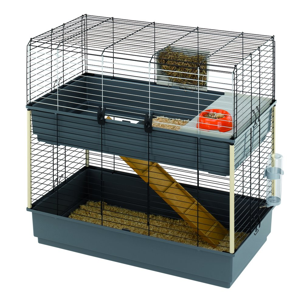 Grey Ferplast CAGE Rabbit 100 Double Rabbit Cage, Structure on Two Floors, 38, 98x20, 28xH 36, 22-Inch