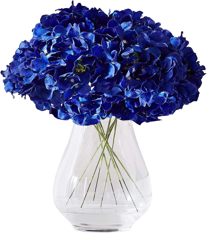 Amazon Com Kislohum Hydrangea Silk Flower Heads 10 Royal Blue