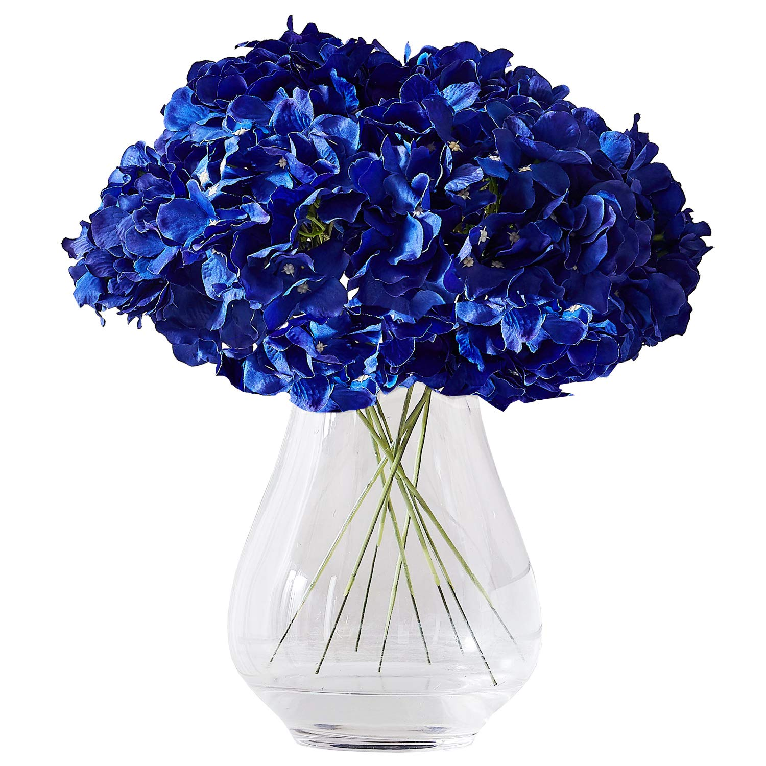 Kislohum Hydrangea Silk Flower Heads 10 Navy Blue Artificial Hydrangea Silk Flowers Head for Wedding Centerpieces Bouquets DIY Floral Decor Home Decoration with Long Stems