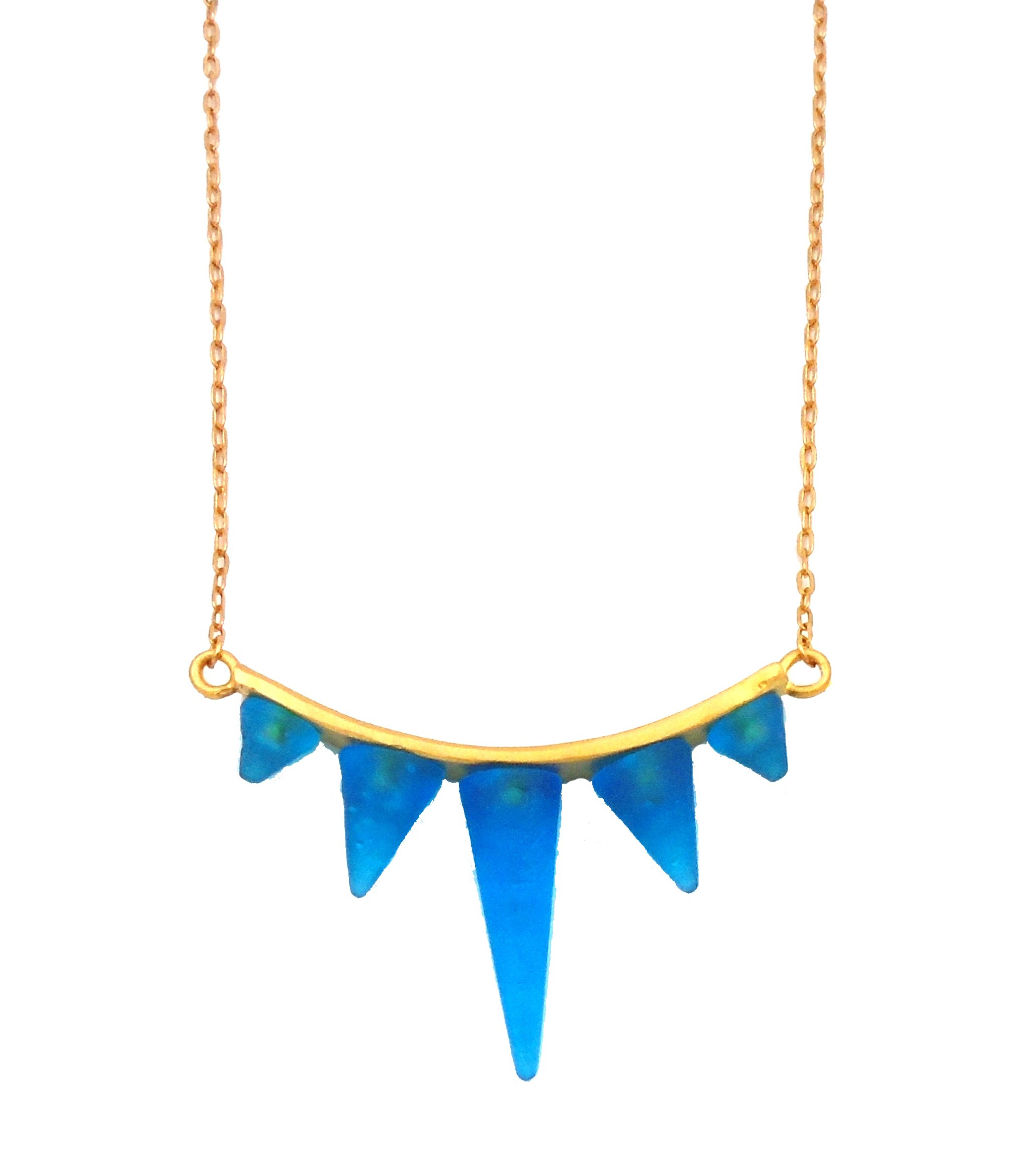 Michael Vincent Michaud- Glass ''Spike Bar Necklace'' in Turquoise Blue by Michael Vincent Michaud