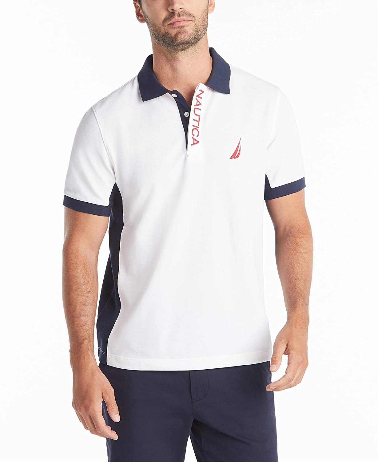 Nautica Men's Short Sleeve Color Block Performance Pique Polo Shirt