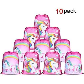 Konsait Lot 10 Unicornio Bolsa de Cuerdas Gymsack Poliéster Bolsa de Hombro Casual Linda Colegios Mochilas para Infantiles Niñas Regalos Cumpleaños ...