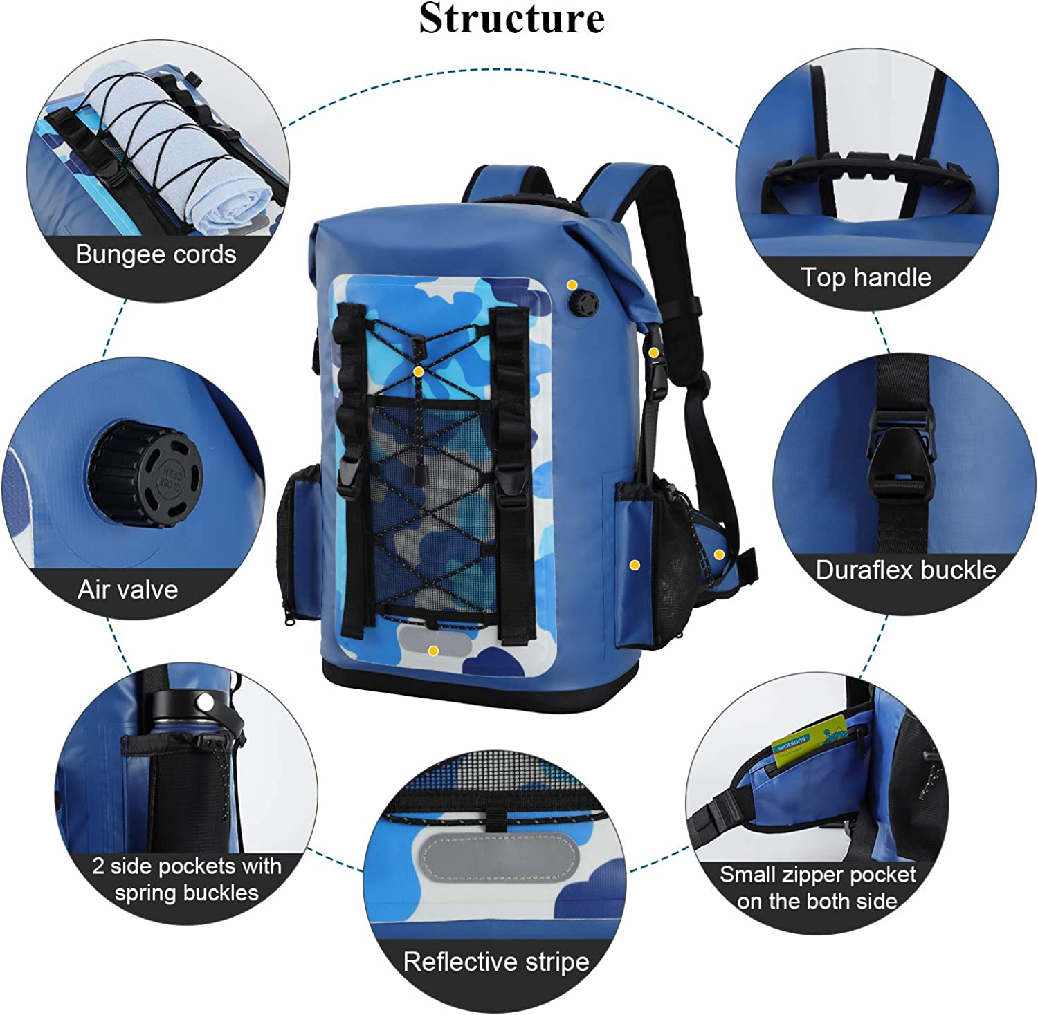 MIER 100/% Waterproof Insulated Backpack Roll Top Soft Cooler Bag Hiking Beach Fishing Kayaking,30L//50L
