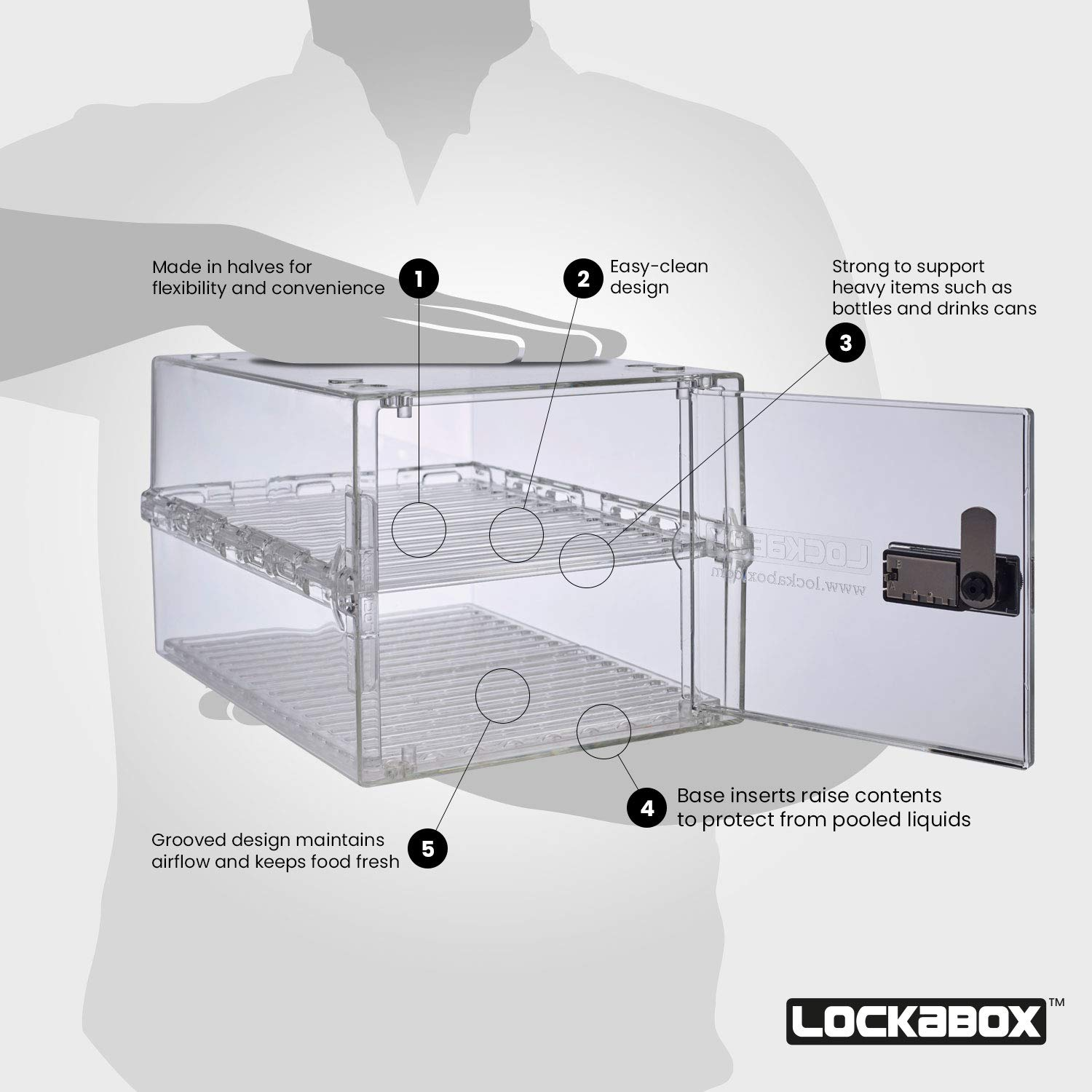Removable shelves and base inserts for increased flexibility and hygiene Lockabox One Shelf Pack
