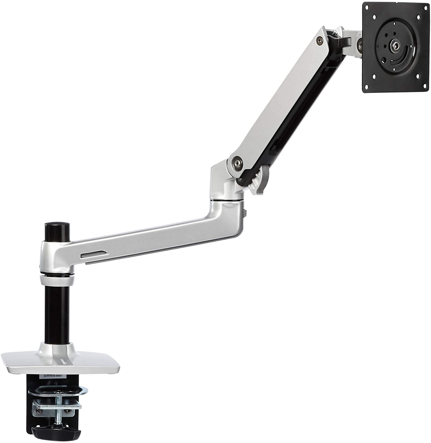 AmazonBasics Premium Single Monitor Stand - Lift Engine Arm Mount, Aluminum - Silver