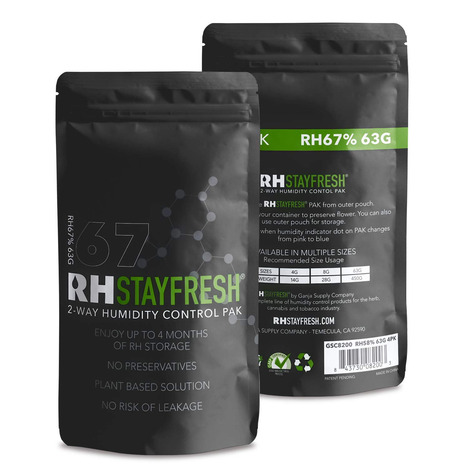 Humidity Pack RH Stay Fresh - for Cigars, 67% Humidity 63 Gram - 12 Pack