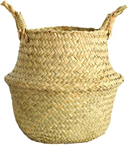 Handmade Wicker Basket Bamboo Seagrass Flower Pot Storage Basket Foldable Straw Patchwork Rattan Seagrass Belly Garden decorativ,Beige