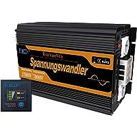 EDECOA inversor 12v 230v onda pura 3500w pantalla LCD inversor onda pura transformador con mando a distancia
