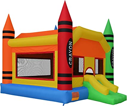 Large Inflatable Bouncing Jumper with Slide Without Blower Cloud 9 The Crayon Bounce House