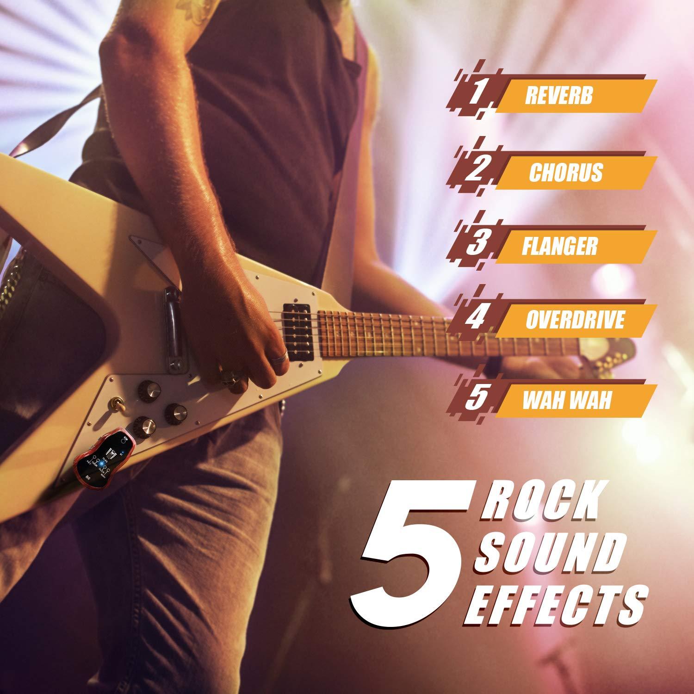 TONOR Amplificadore de Auriculares de Guitarra Eléctrica Recargable Cable Carga USB Altavoz Cinco Efectos Incorporados Guitarra REV/CHOR/FLAG/OVDR/WAH ...