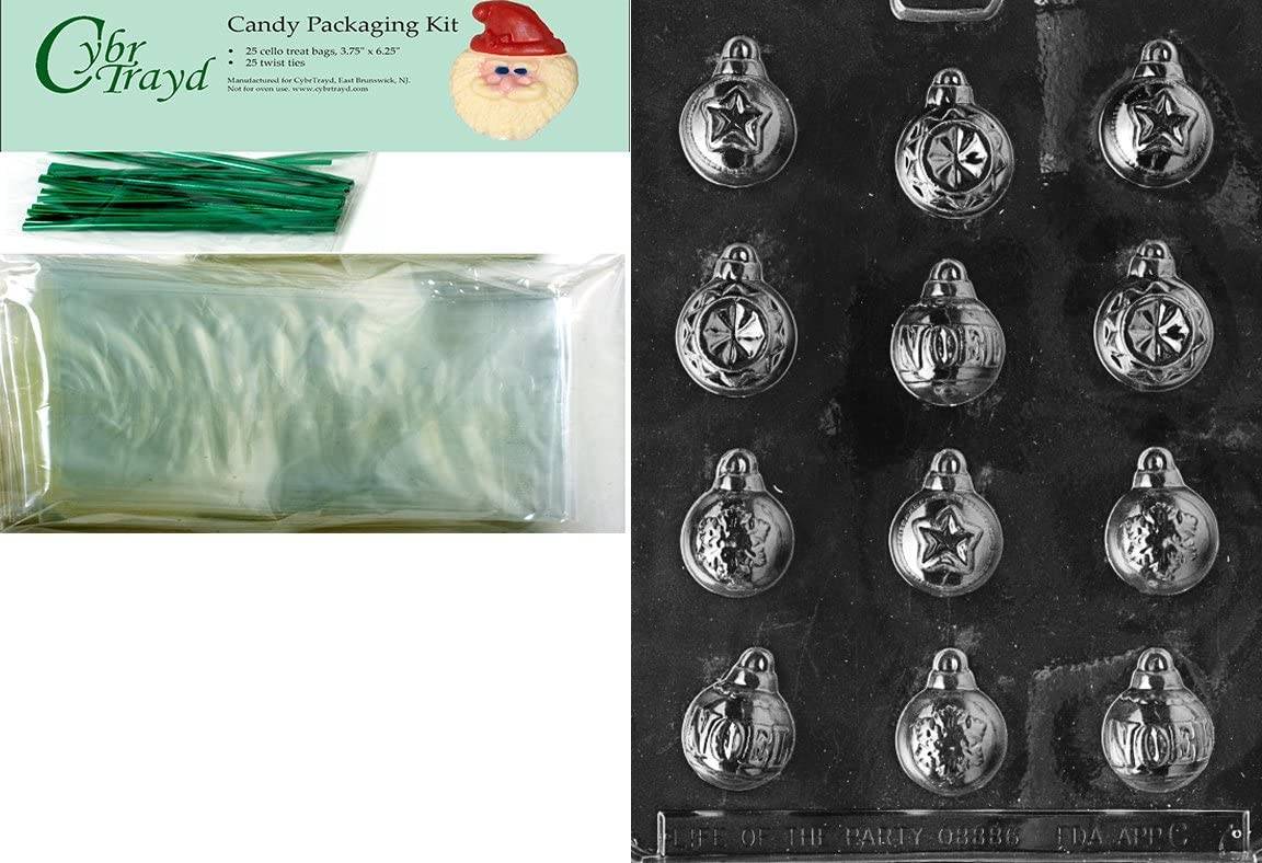 Includes 25 Cello Bags and 25 Green Twist Ties Cybrtrayd MdK25G-C007 Assorted Ornaments Christmas Chocolate Mold with Packaging Kit