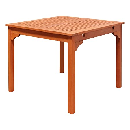 VIFAH V1104 Ibiza Outdoor Wood Stacking Table, Natural Wood Finish, 35-1 2 by 35.4 by 29-1 2-Inch
