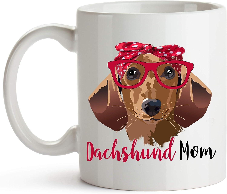 YouNique Designs Dachshund Mom Mug, 11 Ounces, Dachshund Coffee Mug for Dachshund Lovers, Weiner Dog Cup