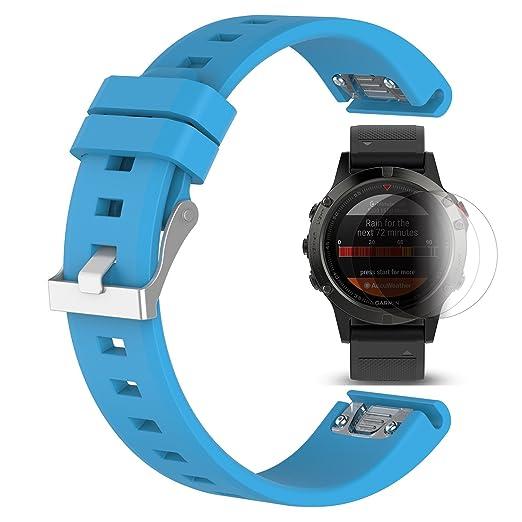 2 opinioni per Garmin Fenix 5 Cinturino con protezione dello schermo, TUSITA braccialetto in
