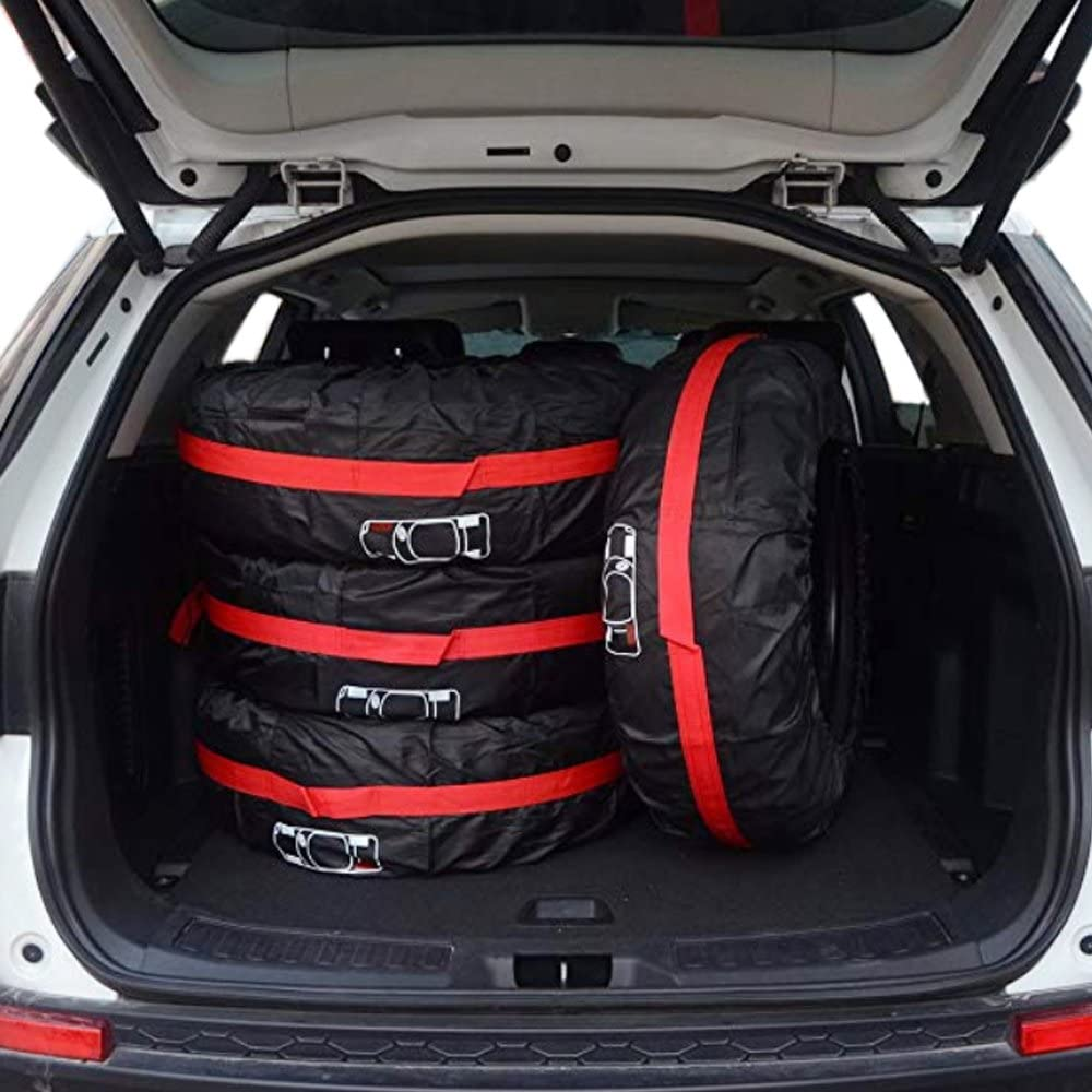 AutoCare Tire Bags /& Seasonal Storage Tote Spare Tire Covers Pack of 4 Red,Fits 13 to 16 Tire Diameter Waterproof /& Sun Protectors S