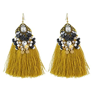 eManco Crystal Long Dangle Drop Yellow Tassel Earrings for Women Fashion Jewellery jdLtZqV