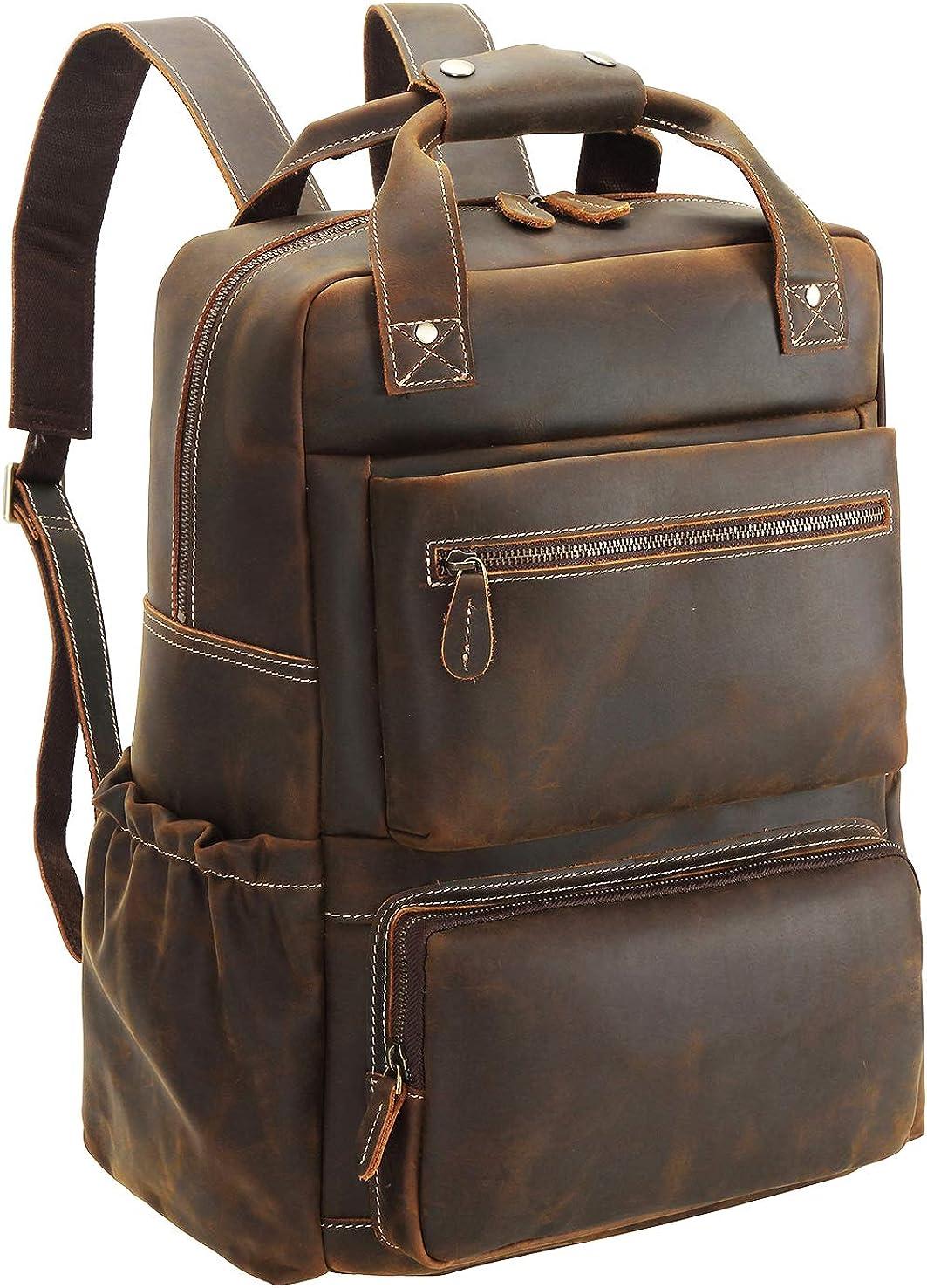 "Polare Men's Full Grain Italian Leather Backpack 15.6"" Laptop Bag Daypack Large Capacity for School Outdoors Travel"