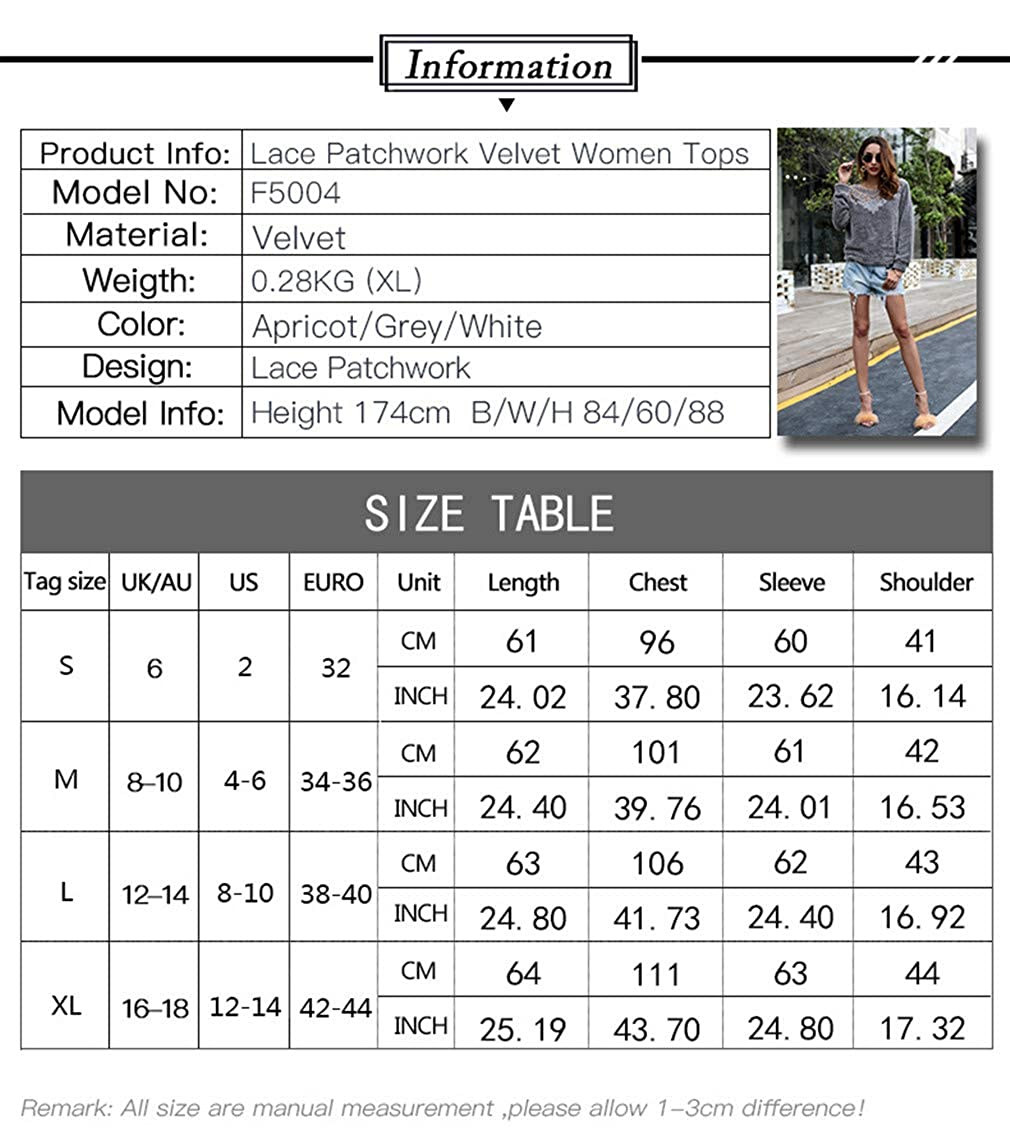 Hibote Mujeres Sudaderas Terciopelo de Manga Larga Floja Encaje Cuello Redondo Camisetas Suéter Blusas Tops Outwear Otoño Invierno S-XL: Amazon.es: Ropa y ...