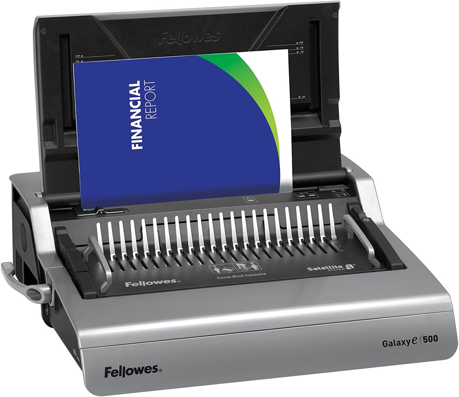 Fellowes 5218301 Galaxy 500 Electric Comb Binding System, 500 Sheets, 19 5/8x17 3/4x6 1/2, Gray : Office Products
