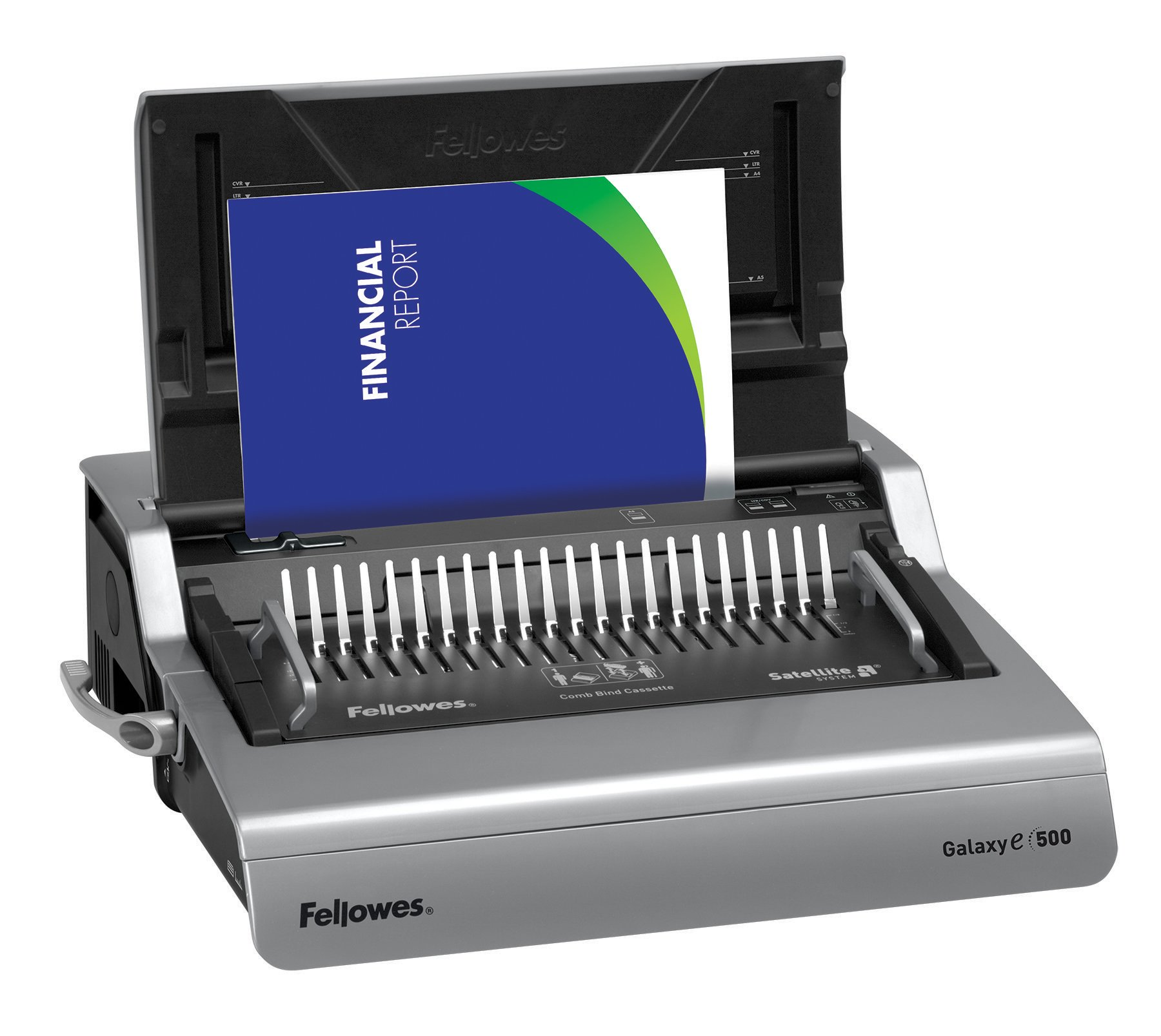 Fellowes 5218301 Galaxy 500 Electric Comb Binding System, 500 Sheets, 19 5/8x17 3/4x6 1/2, Gray by Fellowes (Image #2)