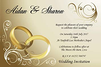 10 Personalised Gold Rings Wedding Day Evening Invitations N8