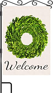 Welcome Garden Flag Boxwood Leaves Wreath Garden Flag Vertical Double Sided Small 12.5 x 18 Inch Burlap Green Leaves Flags Farmhouse Yard Outdoor Decoration