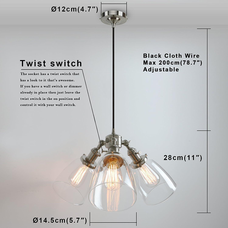 Phansthy Vintage Chandelier Light 3 Light Industrial Pendant Light ...