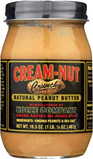 product image for CREAM NUT, Pnut Btr, Crunchy, Natural, Pack of 6, Size 16.5 OZ, (Dairy Free Gluten Free Kosher Low Sodium Wheat Free Yeast Free)