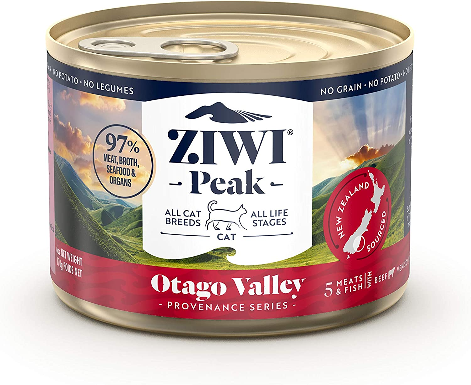 ZIWI Peak Provenance Canned Wet Cat Food – All Natural, High Protein, Grain Free with Superfoods (Otago Valley, Case of 12, 6oz Cans)