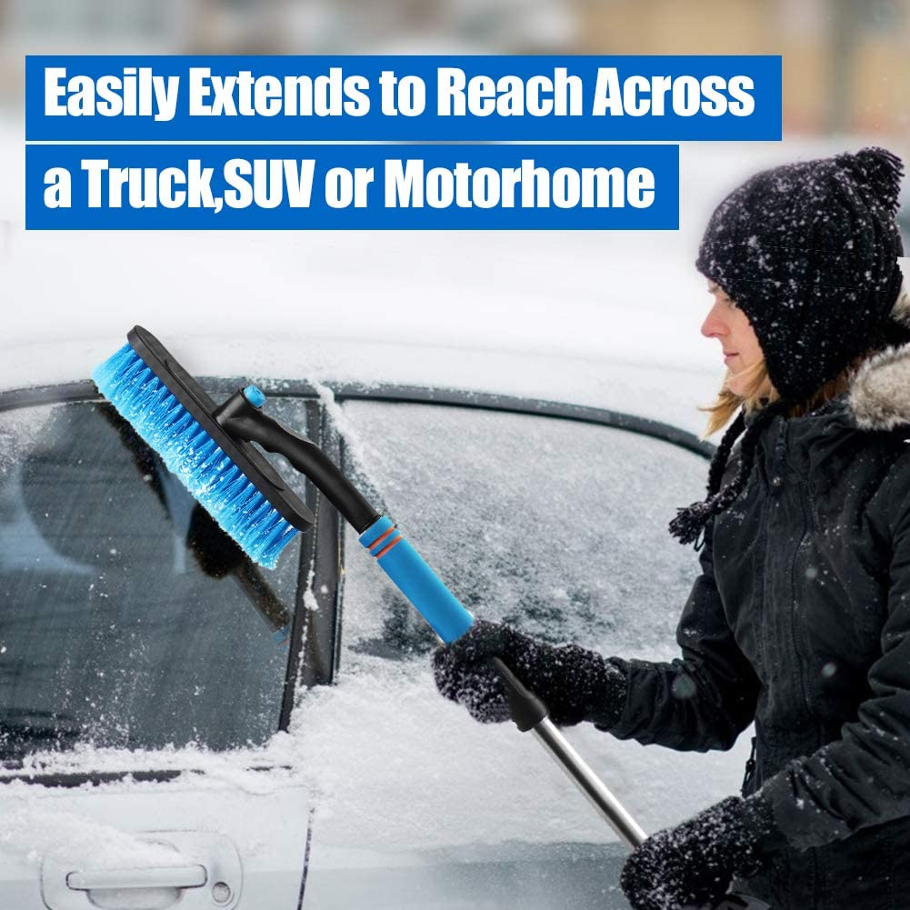 Detachable Snow Remover Snow Scraper for Car Auto Truck SUV Windshield Windows Pamxio Extendable Car Snow Removal Brush Ice Scraper with Ergonomic Design Foam Grip