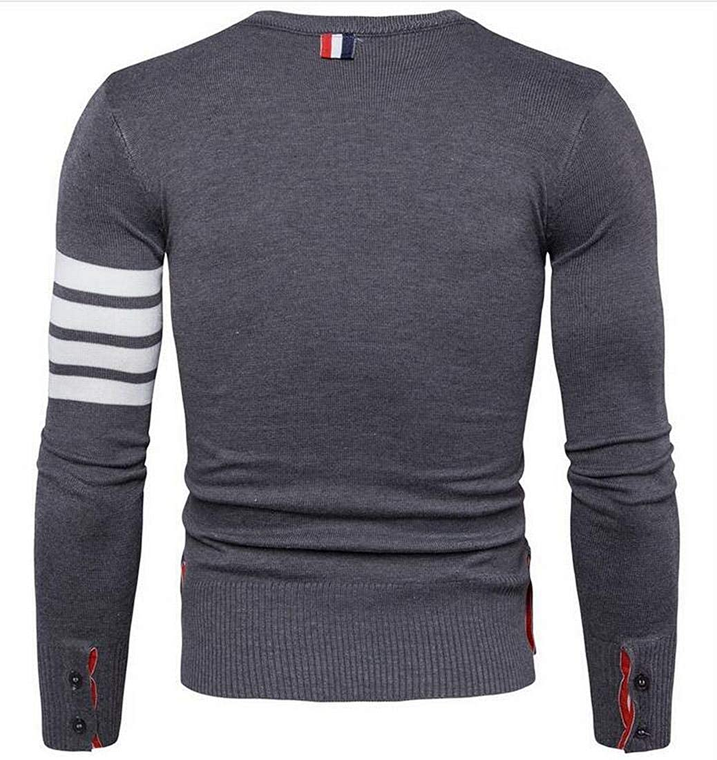 Nanquan Men Autumn Round Neck Long Sleeve Striped Pullover Knit Sweater