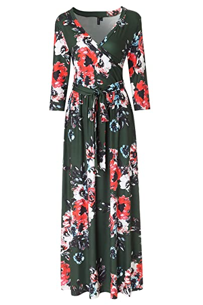 4f0f5c3b2e Zattcas Womens 3/4 Sleeve Floral Print Faux Wrap Long Maxi Dress with Belt (