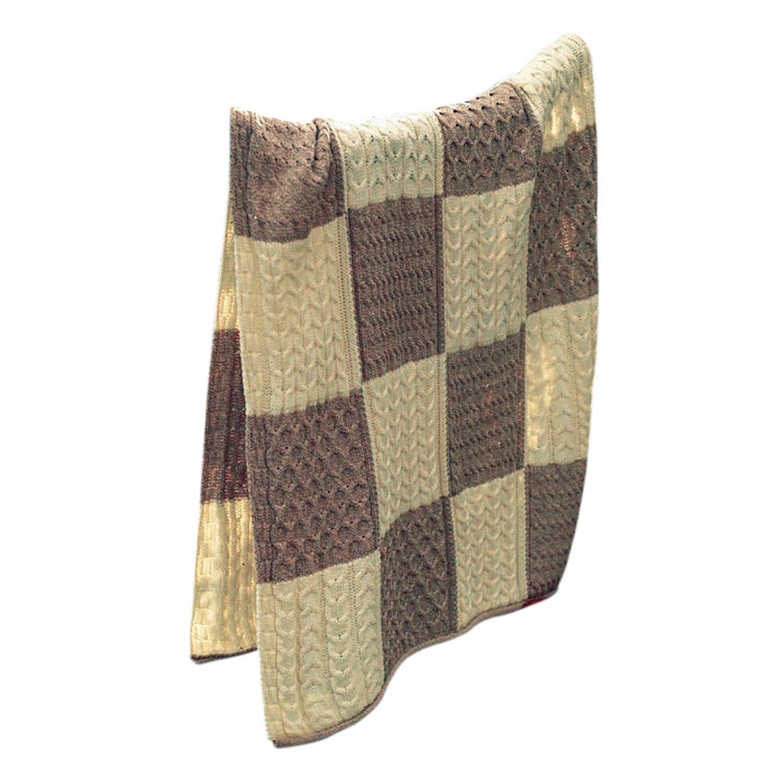 Aran Woollen Mills Patchwork Intarsia Merino Wool Irish Blanket,Wicker/White,One Size